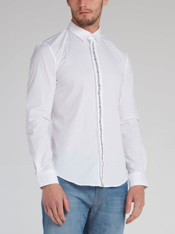 White Logo Tape Button Down Shirt