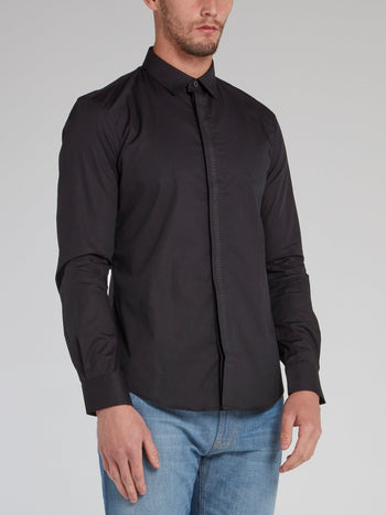 Black Logo Tape Button Down Shirt