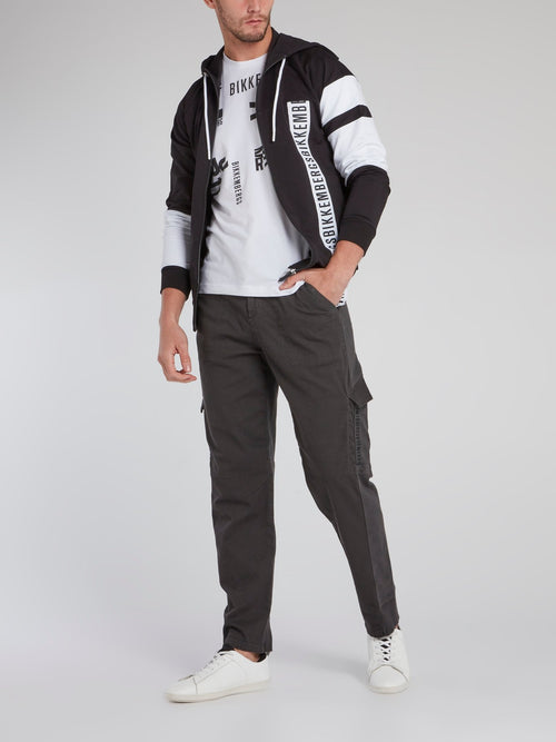 Grey Rear Logo Cargo Trousers