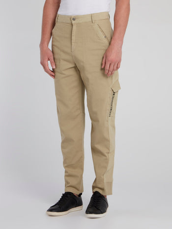 Khaki Rear Logo Cargo Trousers
