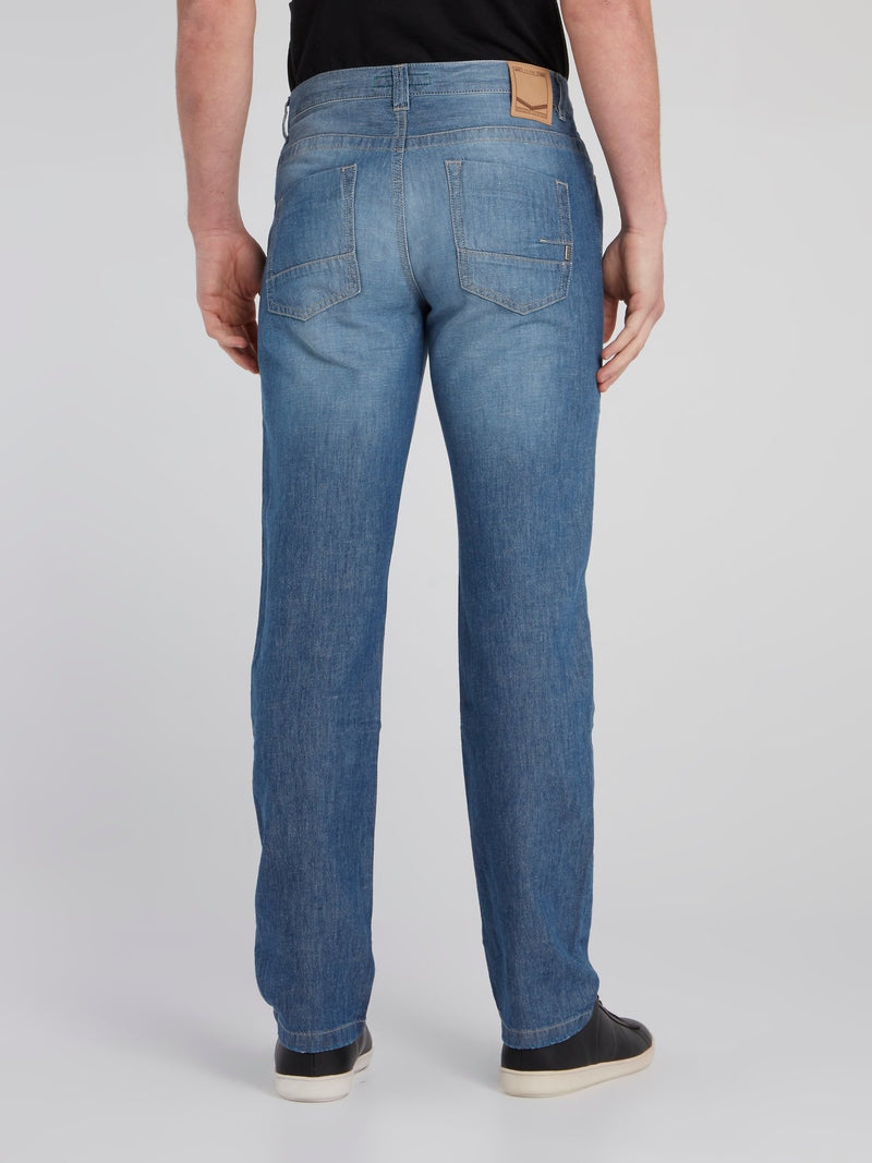 Blue Straight Leg Denim Pants