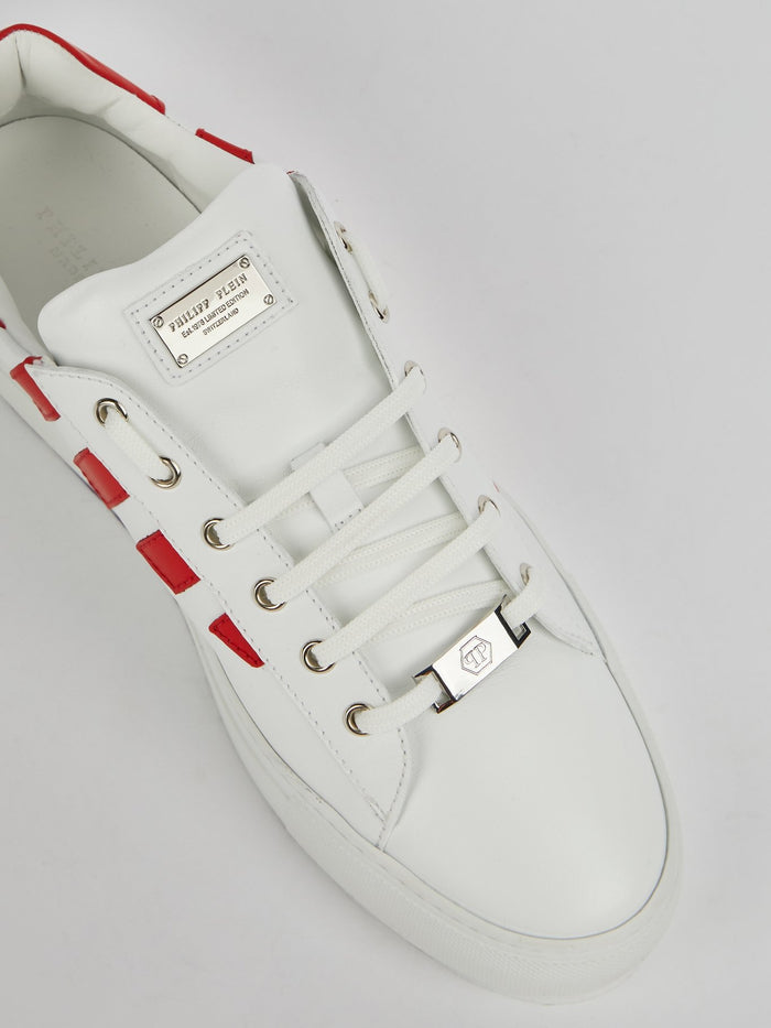 White Lace Up Logo Sneakers