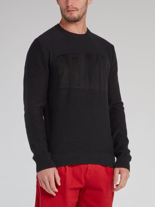 Black Ribbed Edge Statement Sweater