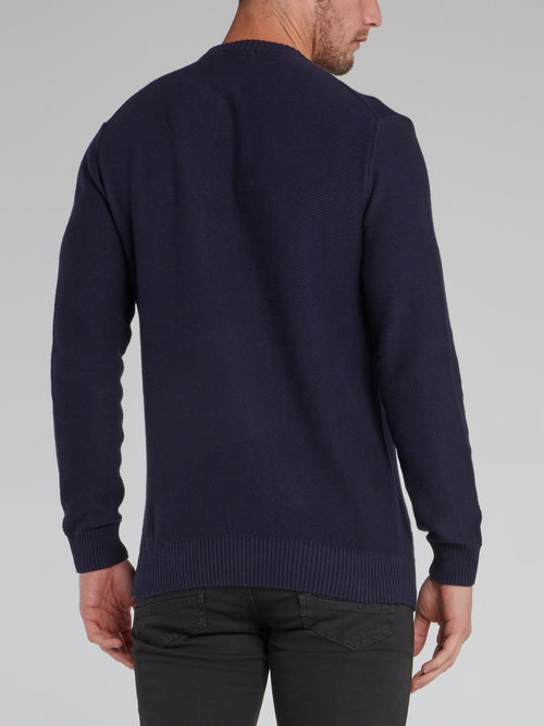 Navy Ribbed Edge Statement Sweater