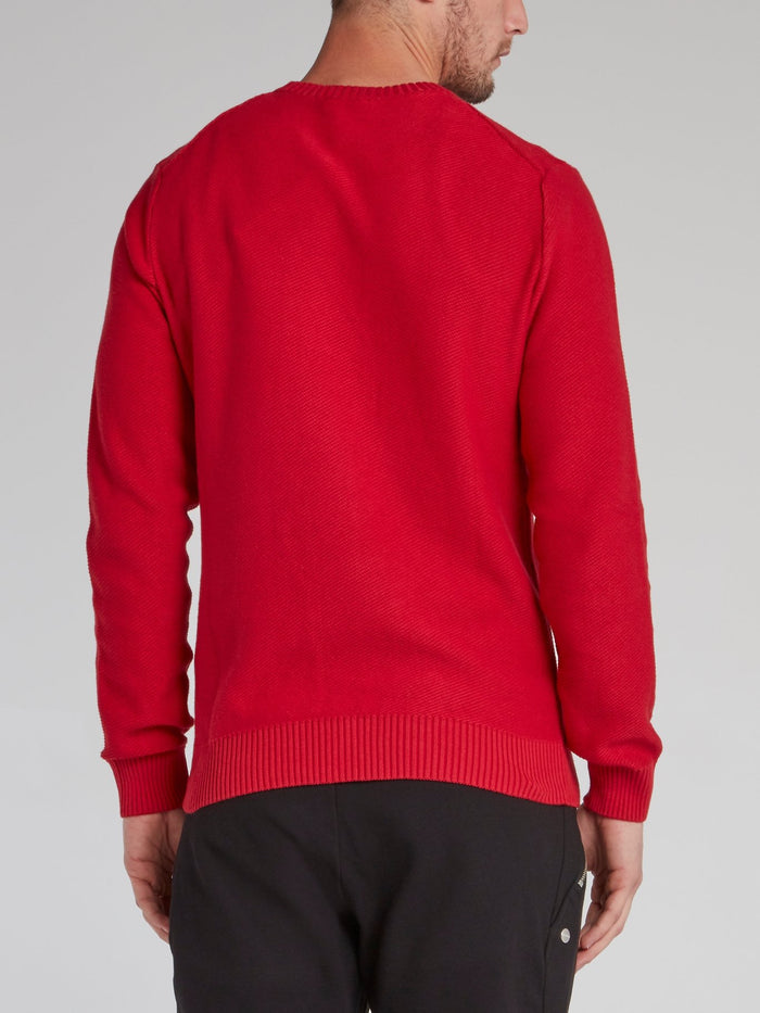 Red Ribbed Edge Statement Sweater