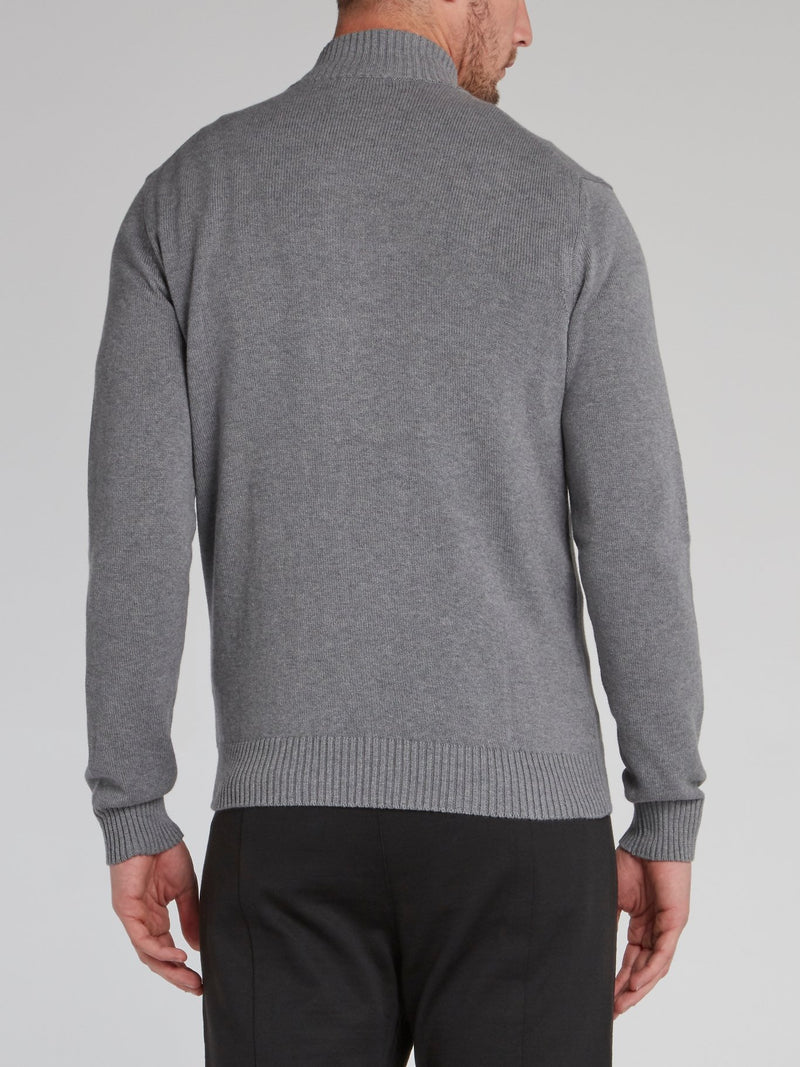 Grey Logo Tape High Neck Sweater