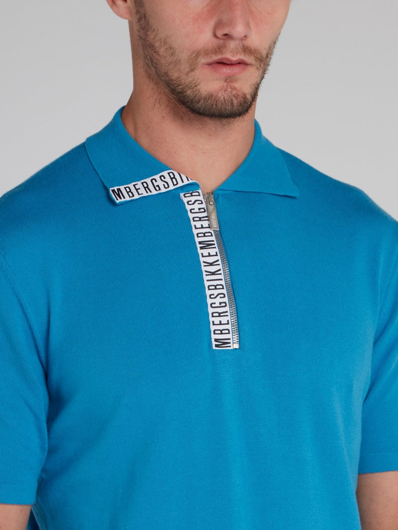 Blue Logo Tape Knitted Polo Shirt
