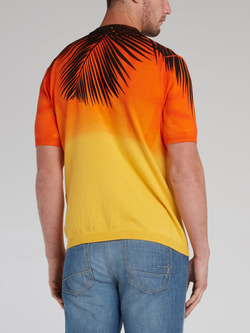 Palm Print Sunset Knitted T-Shirt