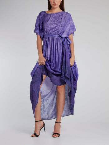 Purple Snake Effect Tie Front Dress