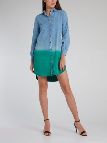 Two Tone Denim Shirt Dress