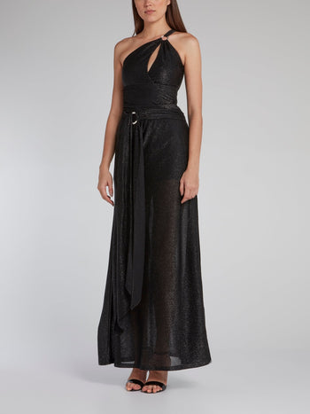 Black One-Shoulder Glitter Maxi Dress