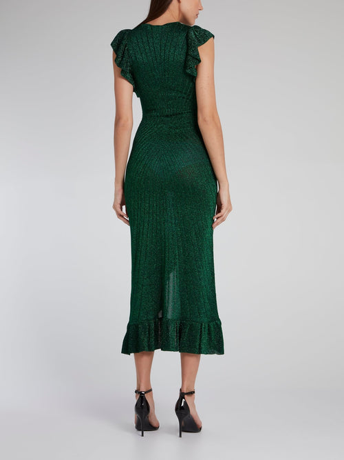 Emerald Frill Hem High Low Dress