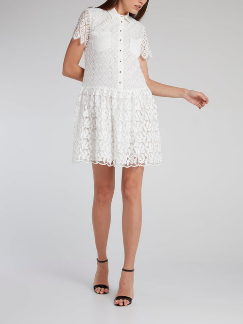 White Feather Detail Lace Mini Dress