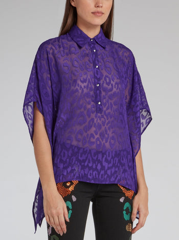 Purple Leopard Mesh Shirt