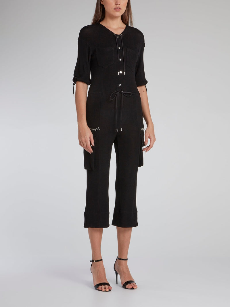 Black Drawstring Trapeze Jumpsuit
