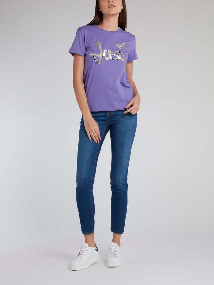 Purple Sequin Snake Logo T-Shirt