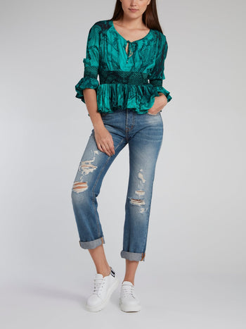 Green Frill Hem Snake Effect Top