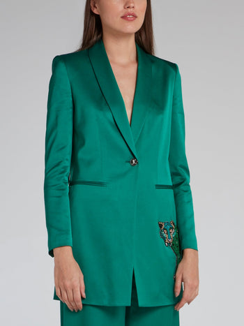Green Sequin Leopard Viscose Coat