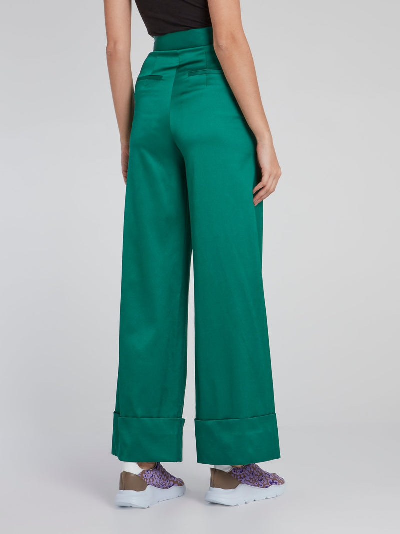 Green Fold Over Viscose Pants