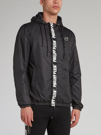 Black Multi-Drawstring Nylon Jacket