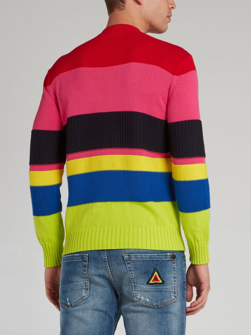Colour Block Stripe Knitted Top