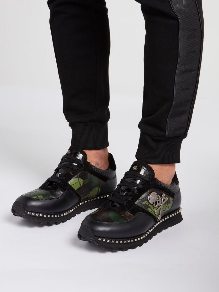Crocodile Effect Camo Sneakers