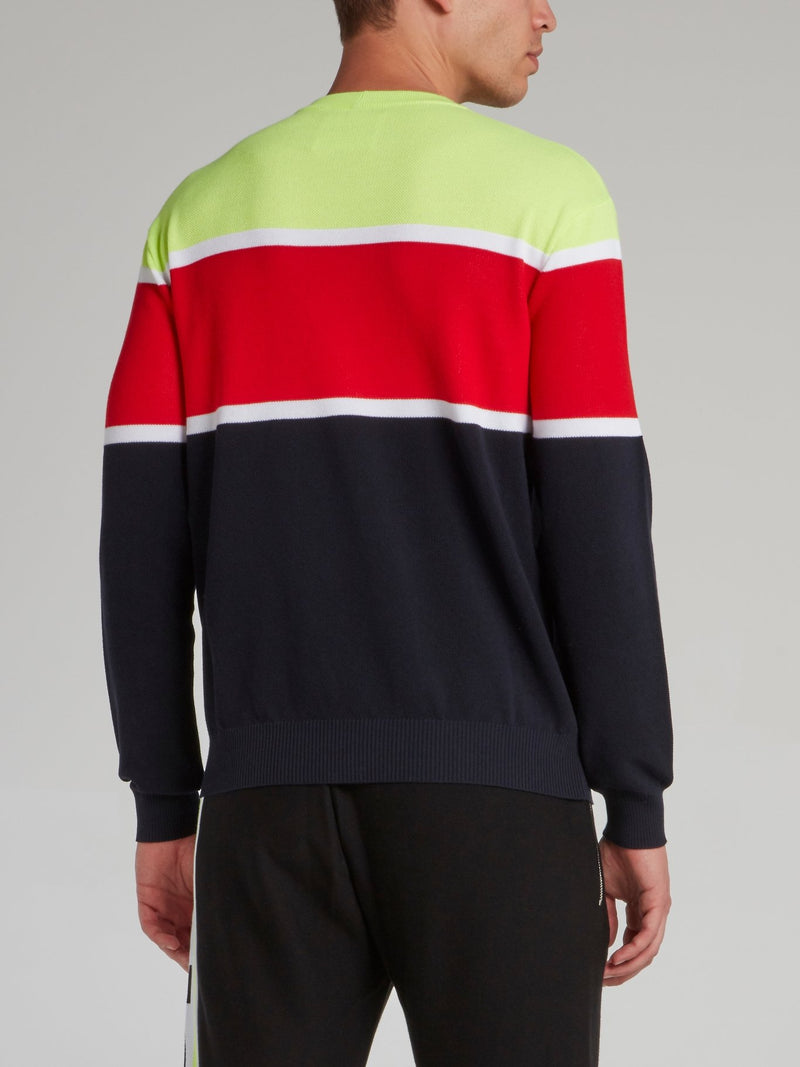 Colour Block Logo Knitted Top