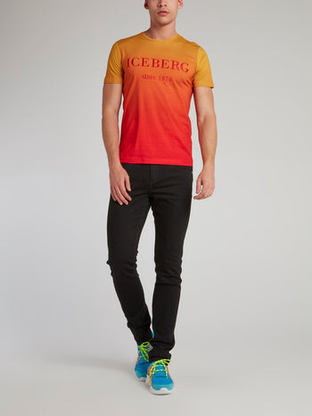 Orange Gradient Embroidered T-Shirt