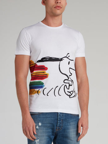Snoopy White Stripe Panel T-Shirt