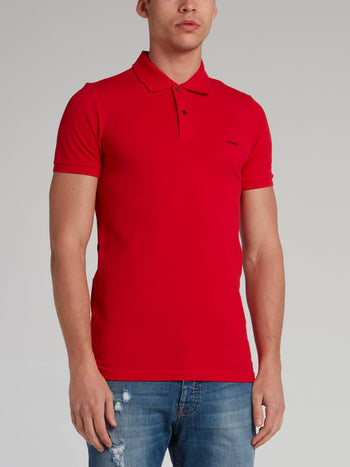 Charlie Brown Red Rear Print Polo Shirt