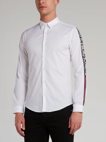White Logo Tape Sleeve Shirt