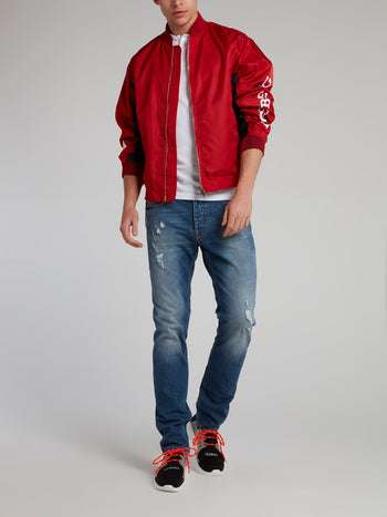 Red Embroidered Logo Sports Jacket