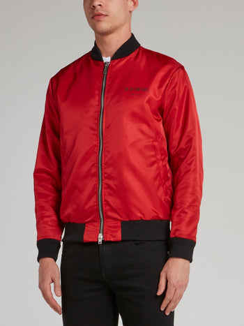 Red Logo Print Sports Jacket