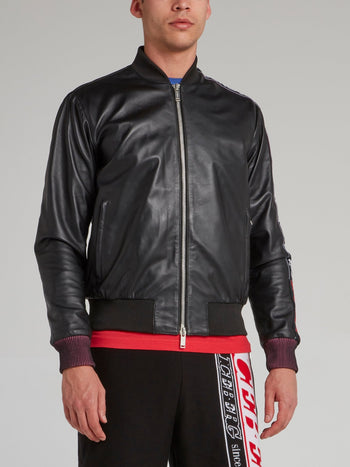 Black Logo Tape Leather Jacket