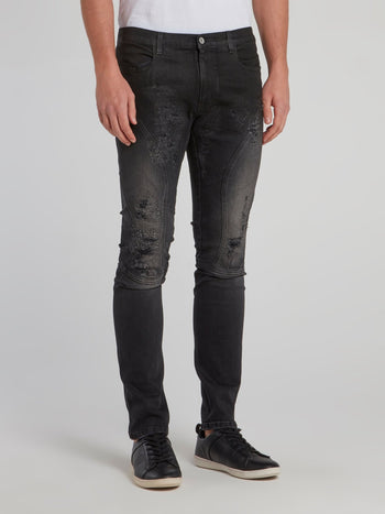 Black Distressed Denim Trousers