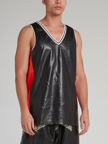 Black Faux Leather Basketball Jersey
