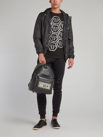 Black Dollar Leather Backpack
