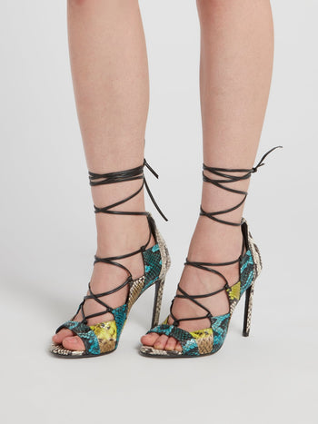 Snake Effect Lace Up Sandals