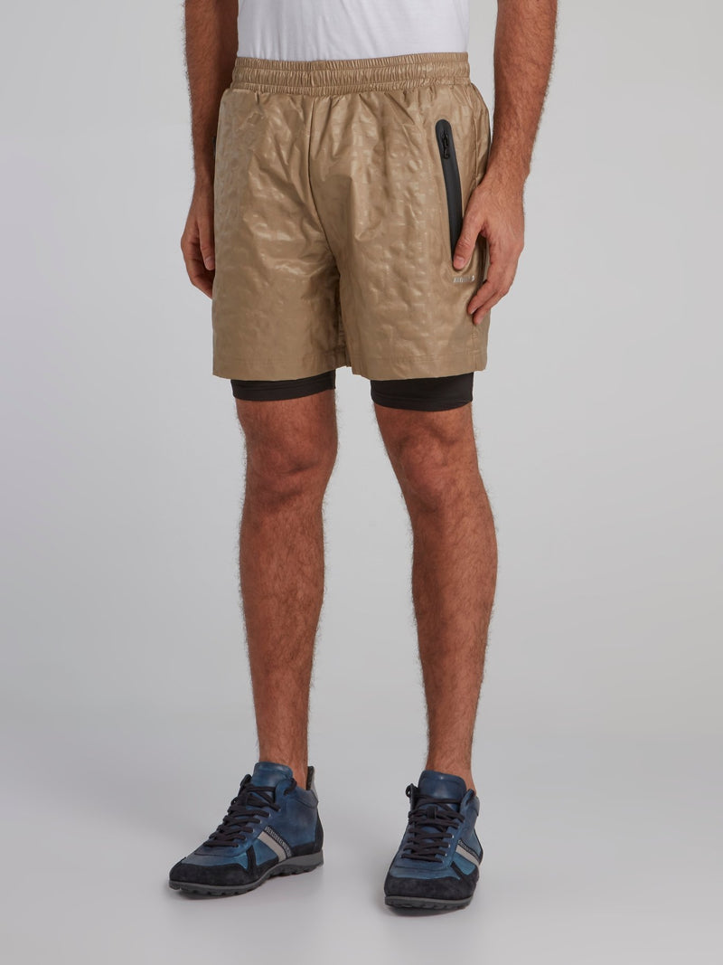 Brown Geometric Track Shorts