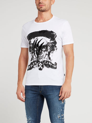 White Scratch Skull T-Shirt