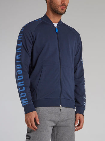 Navy Logo Sleeve Track jacket