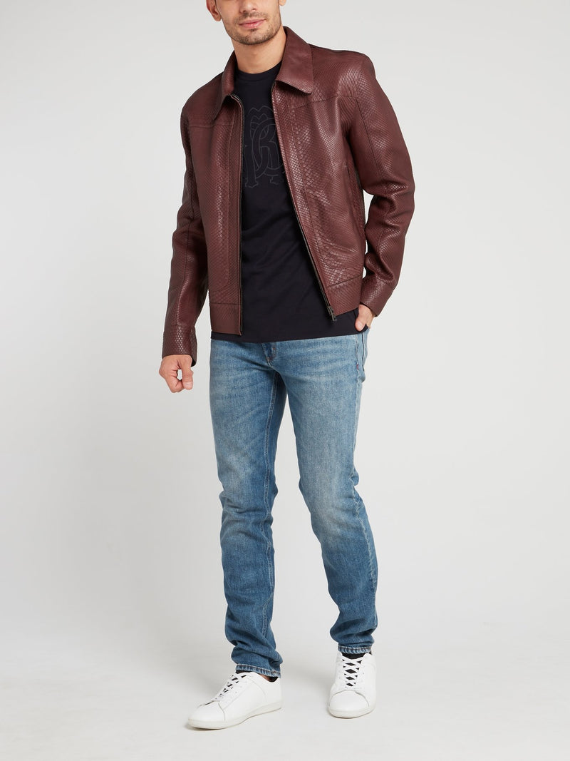 Burgundy Snake Skin Leather Jacket