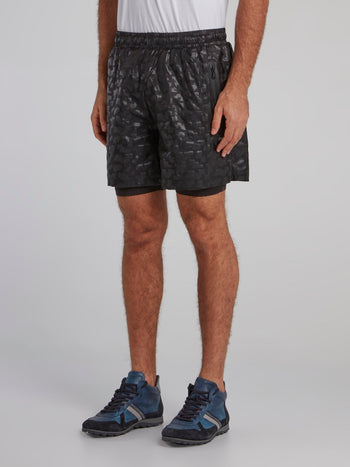 Black Geometric Track Shorts