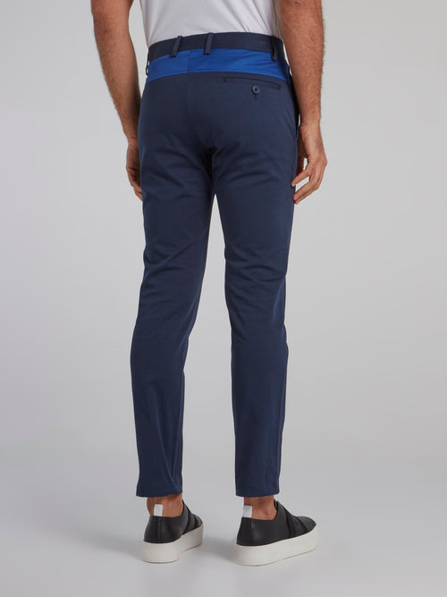 Navy Cropped Chino Pants