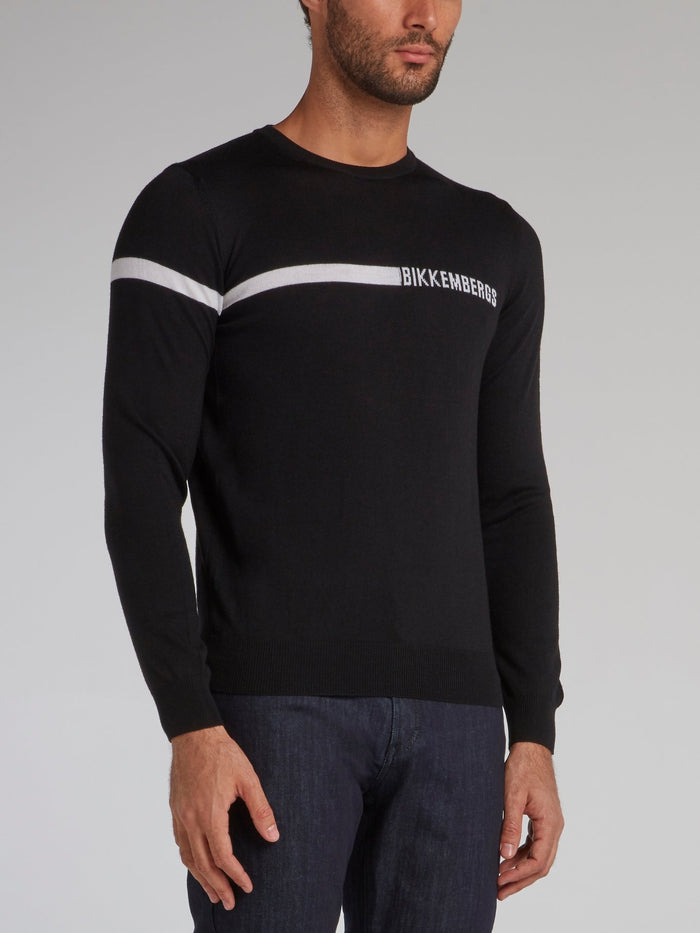 Black Logo Crewneck Sweater