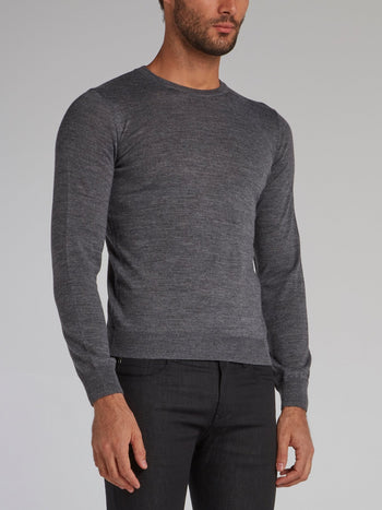 Grey Rear Logo Knit Sweater