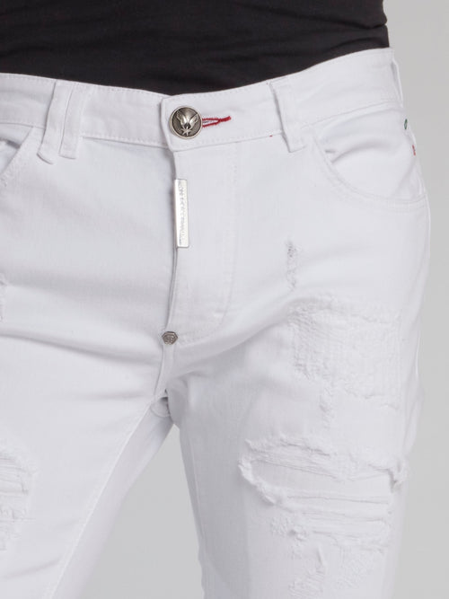 White Distressed Skinny Trousers
