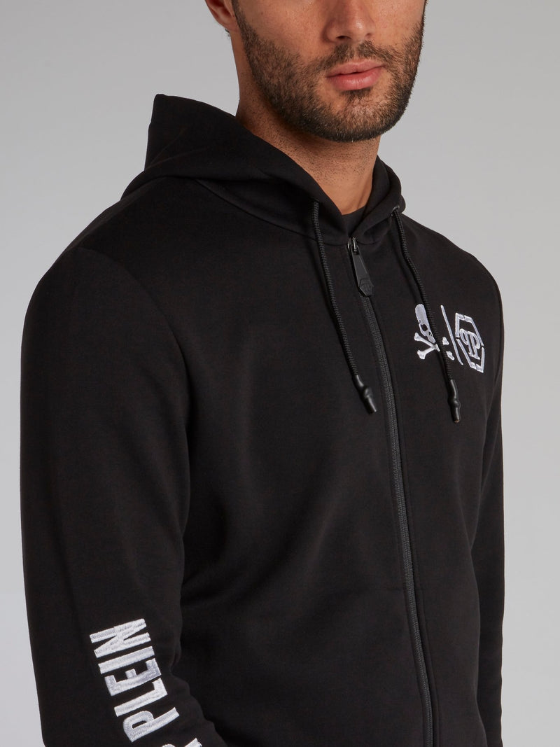 Black Contrast Hoodie Sweat Jacket