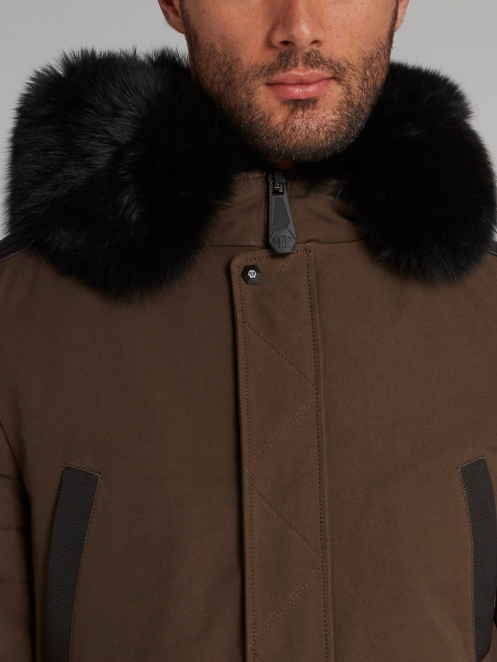 Brown Rear Logo Parka