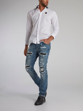 White Rear Statement Shirt